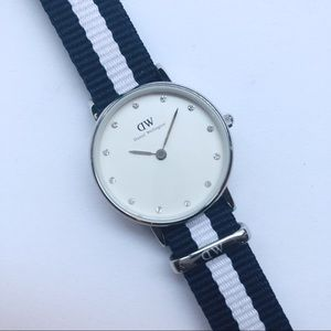 Daniel Wellington Watch with Blue and White Strap